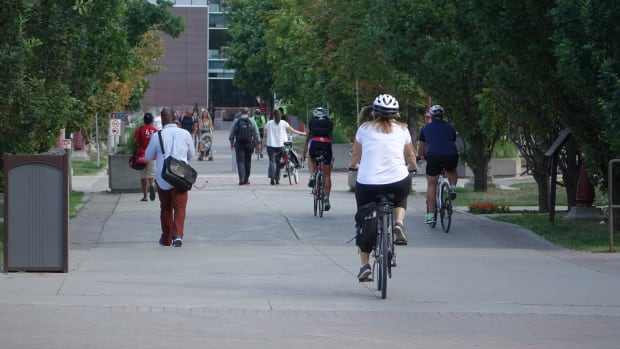 Students walk and bike through the grounds of the University of Ottawa in 2016. Nearly 30 per cent of all Canadian students who were on the government's payroll are experiencing pay problems because of the Phoenix pay system, according to documents obtained by Radio-Canada.