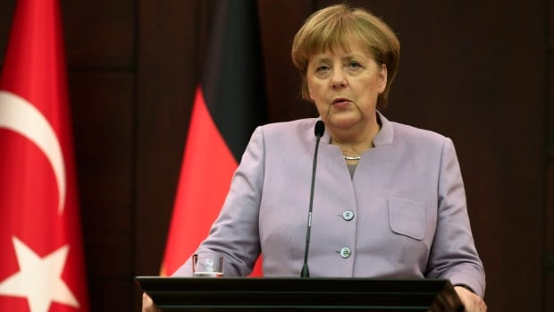 German Chancellor Angela Merkel speaks during a news conference in Ankara, Turkey, in February. Relations between the two countries have been tense for some time.