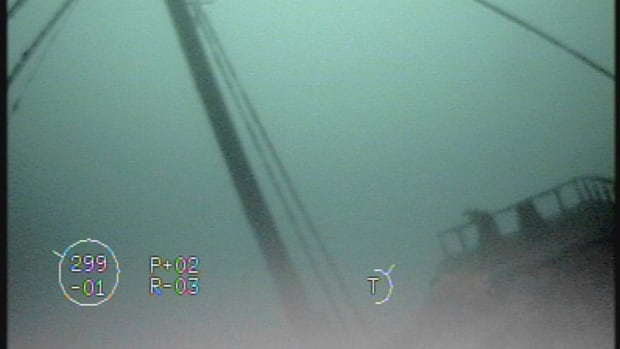 This 2017 image made from video provided by the National Oceanic and Atmospheric Administration Thunder Bay National Marine Sanctuary shows the mast's forward stays down to the bow of the of the 202-foot-long wooden bulk carrier Ohio.