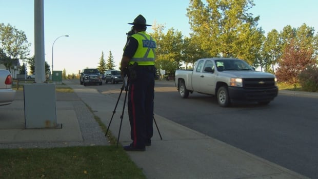 Edmonton police were out with radar Tuesday to monitor drivers in school zones.