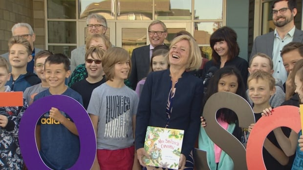 Premier Rachel Notley attacked her political foes in front of an audience of Grade 6 students Tuesday at a ceremony to mark the opening of Lois E. Hole elementary school in St. Albert.