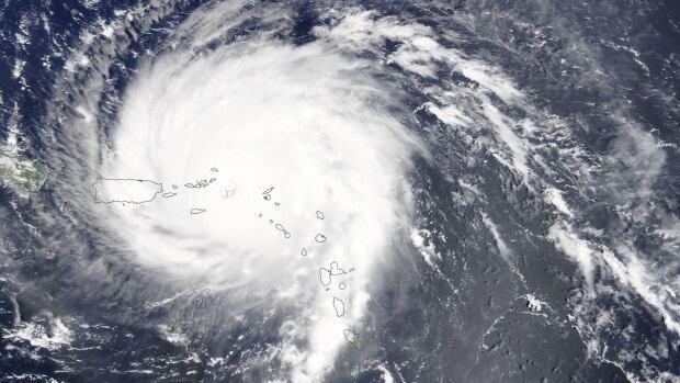 Hurricane Irma, seen from NASA's Terra satellite, was nearing the British Virgin Islands and Puerto Rico on Wednesday.