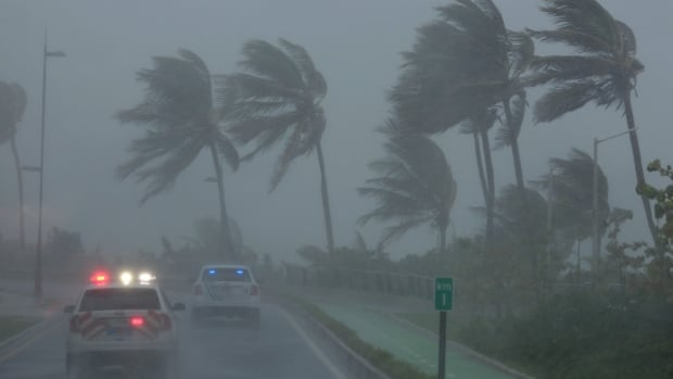 Hurricane Irma slammed across islands in the northern Caribbean on Wednesday. This photo from San Juan, Puerto Rico shows the strong winds.