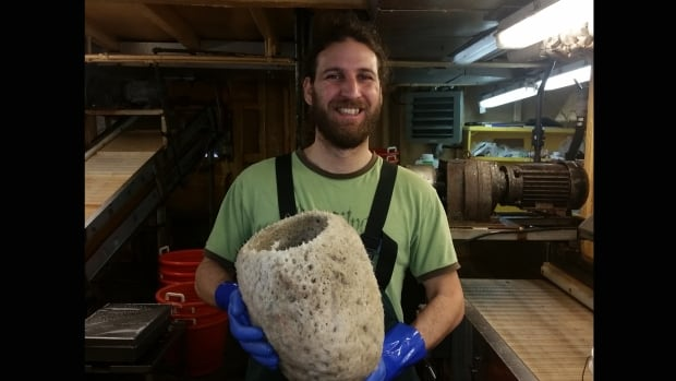 Javier Murillo-Perez, a research scientist working on sponges, holds a Russian Hat specimen recovered in a July trawl survey off Nova Scotia. The delicate sponges are often muddy and damaged. This one is in perfect condition.