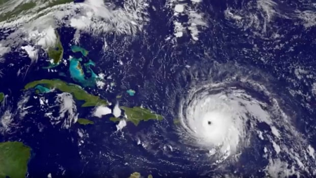 A satellite image taken Wednesday shows Hurricane Irma tracking over Saint Martin and the Leeward Islands.