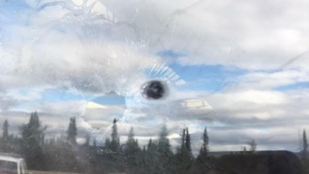 Students were dismissed from the Mushuau Innu school in Natuashish last week after staff discovered this hole in a classroom window.