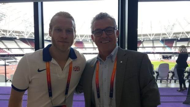 Canadian Patrick Jarvis, right, pictured here with British gold medallist Jonnie Peacock, left, is running for president of the International Paralympic Committee. The election takes place Friday in Abu Dhabi.