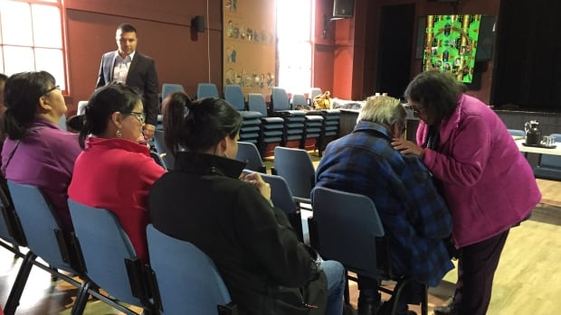 Members of the Atikamekw community of Manwan gather in Saint-Michel-des-Saints to met with the Quebec prosecutor on Thursday, and were told provincial police won't lay charges in the death of five Indigenous people in 1977.