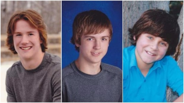 From left, Carter Stevenson, 17,  Justin Gaja, 14, and Kristian Skalicky, 15, from Carrot River, Sask., were killed in the highway crash in May 2015.