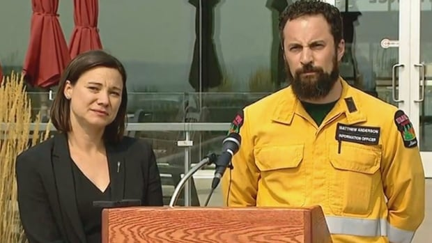 Alberta Environment Minister Shannon Phillips and fire information officer Matthew Anderson were in Lethbridge on Thursday giving an update on the wildfire situation in southern Alberta.