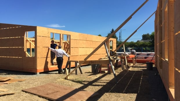 Two portables being built on site at Victoria's École Willows Elementary School on August 21. These portables are part of a pilot project by School District 61 to design and build their own portables.