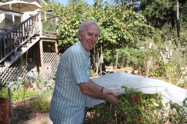 Peter Lamb in his garden on Salt Spring Island