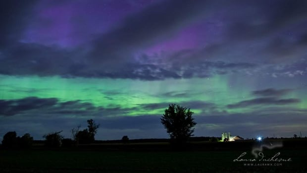 The northern lights illuminate the sky just west of Conestoga Lake in Ontario on the night of Sept. 7.