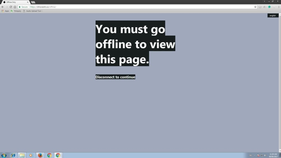 How Chris Bolin's website, Offline, appears...when you're online