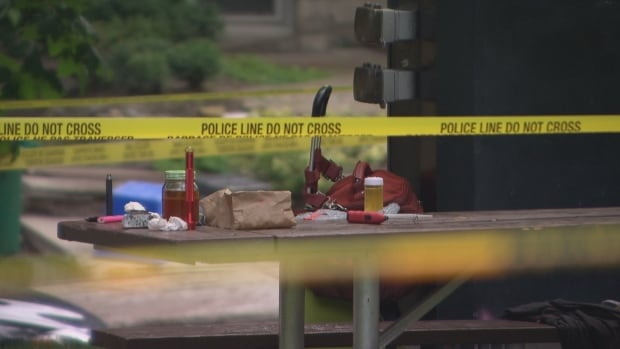 Drug-making equipment remained on the picnic table more than 12 hours later.