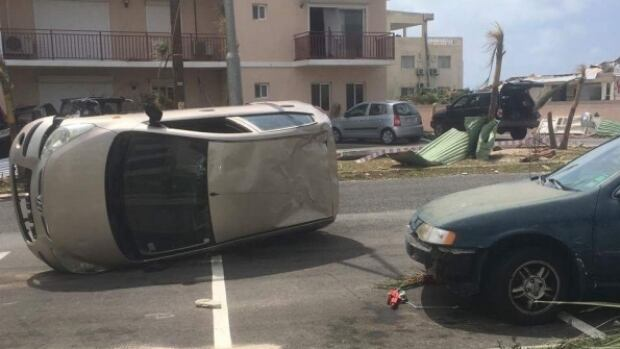 Destruction by Hurricane Irma in St. Maarten.
