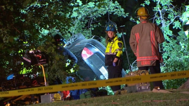 Peel Regional Police say two people are dead and one is injured after a single vehicle crash early Saturday in Mississauga.