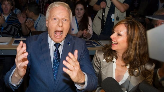 Parti Quebecois Leader Jean-Francois Lisée reacts after receiving a 92.8 per cent confidence vote at the party's policy convention in Montreal, Saturday.