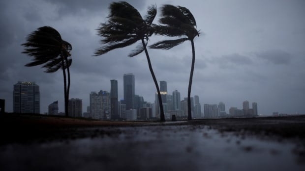 Dark clouds are seen over Miami's skyline before the arrival of Hurricane Irma on Saturday.