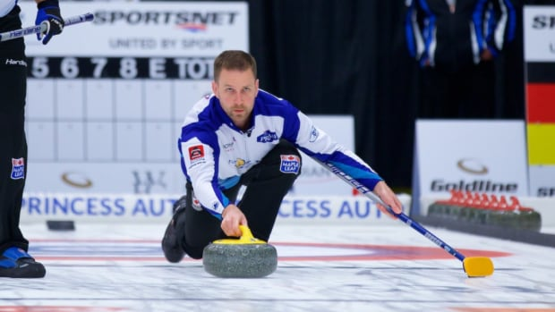 Brad Gushue, above, defeated Steffen Walstad 9-1 on Sunday to win the Grand Slam of Curling's Tour Challenge.