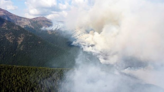 The Kenow wildfire is burning mostly in B.C., but is threatening to cross over into Waterton Lakes National Park, with spot fires reported within the boundaries.