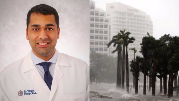 Saskatoon surgeon Sheev Dattani is working at Florida Hospital as staff braces for a rush of hurricane victims. On the left, water rises up to a sidewalk by the Miami river as Hurricane Irma arrives at south Florida Sept. 10, 2017.