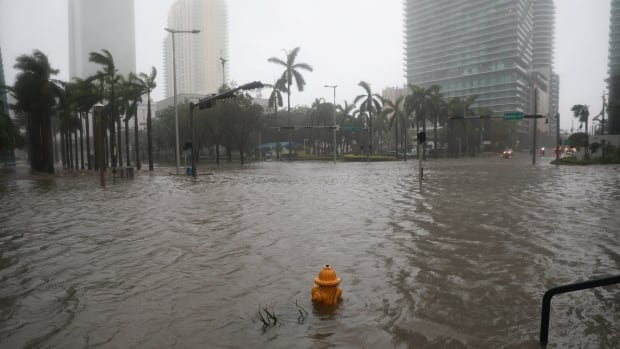 Flooding in the Brickell neighborhood as Hurricane Irma blows through Miami on Sunday.