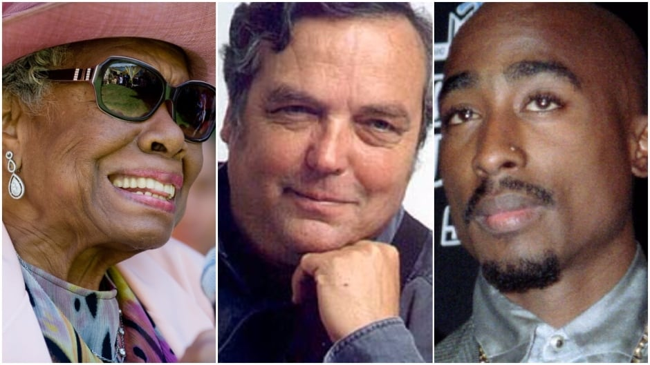 Former Canadian parliamentary poet Pierre DesRuisseaux (centre) has been accused of plagiarizing from poet Maya Angelou (left) and rapper Tupac Shakur (right)