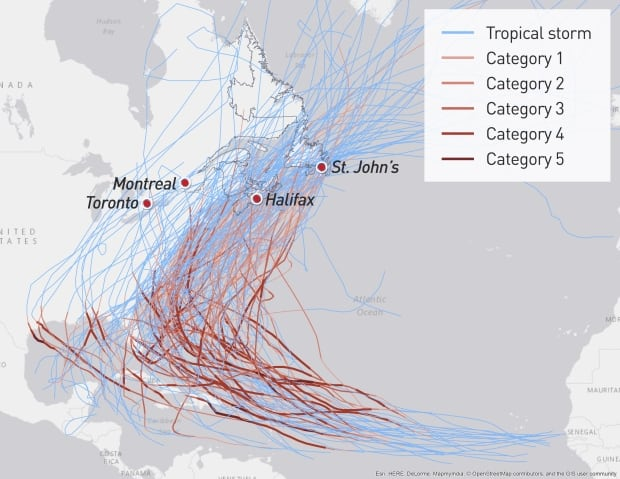 hurricanes canada map