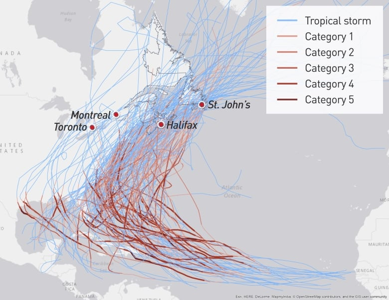 These Are All The Hurricanes That Hit Canada Since 1900 Cbc News