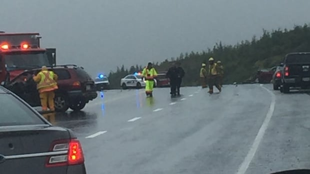 Emergency responders on the scene of a fatal collision on Veterans Memorial Highway Monday.