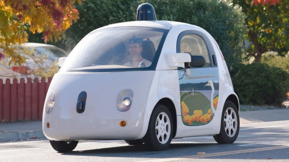 Google Waymo autonomous test car on the streets of Mountain View, California.