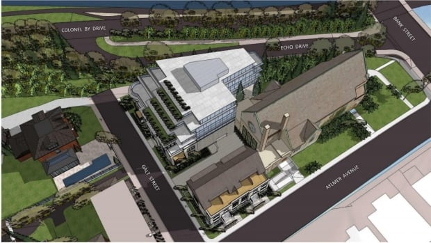 An architectural rendering of the proposed redevelopment of Southminster United Church includes a mid-rise condominium development.