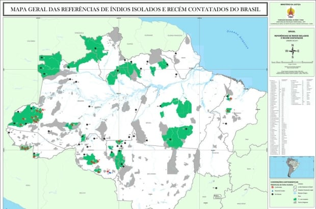 uncontacted amazon tribes map