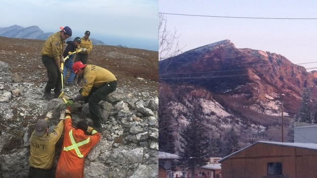 Crews worked last week to open up a sacred vent hole on top of a mountain near Nahanni Butte, N.W.T. The hole is central to Dene legend but was closed several years ago during construction of a radio tower.