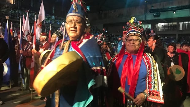 Drummers lead the procession at the first National Gathering of Elders, in Edmonton.