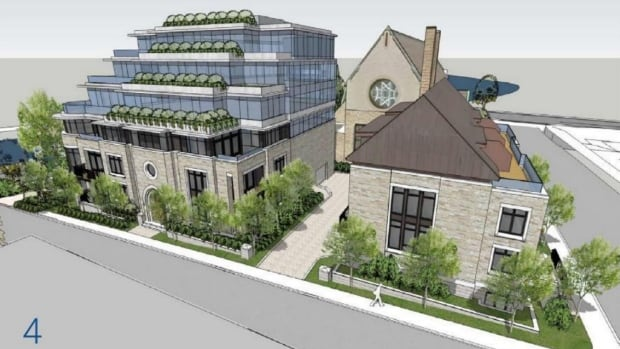 This architectural rendering shows the proposed condo and townhouses as seen from Galt Street. Southminster United Church can be seen behind them.