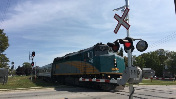 A Via train is seen at a level crossing in Stratford, Ont. Via Rail has informed customers one of its suppliers, which conducts surveys on Via's behalf, inadvertently made some customer lists available on the internet while performing a series of tests in July. No financial data was part of that breach.
