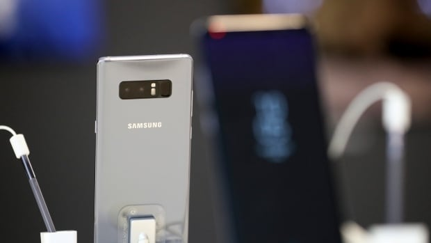 Samsung Electronics' Galaxy Note 8 are displayed during a media day in Seoul, South Korea, Tuesday, Sept. 12, 2017. The company aims to launch a foldable smartphone next year under its Galaxy Note brand.