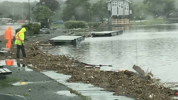 The boathouse at Quidi Vidi Lake is closed Tuesday so crews can clean up the debris caused by heavy rain.