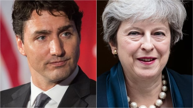 Left: Prime Minister Justin Trudeau. Right: British Prime Minister Theresa May.
