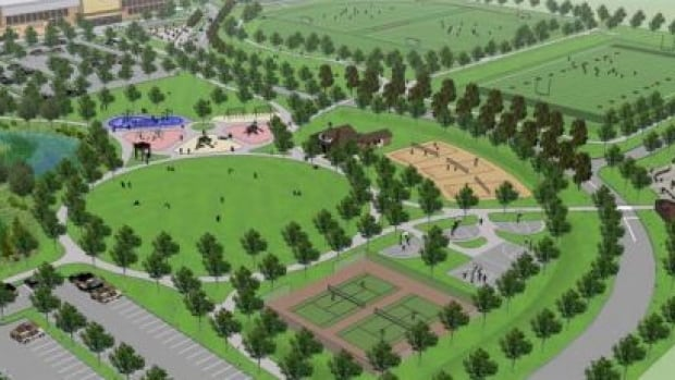 Once construction is completed in 2019, the park will offer lawn spaces, soccer fields, a basketball court, a tennis court, a volleyball court, a multi-use field and eventually a recreational centre.