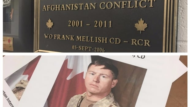 Warrant Officer Frank Mellish, killed in action in Afghanistan, was honoured Tuesday at his high school, Kensington Intermediate High School.