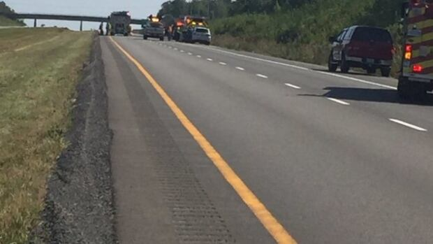 Highway 10 has reopened near Bromont after a chemical spilled on the road Tuesday morning.