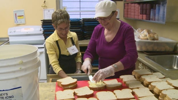 Volunteers prepare sandwiches for lunch at the Upper Room Soup Kitchen in Charlottetown.