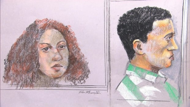 Sabrine Djermane and El Mahdi Jamali, shown here in a courtroom sketch during jury selection, are on trial for terrorism-related offences.