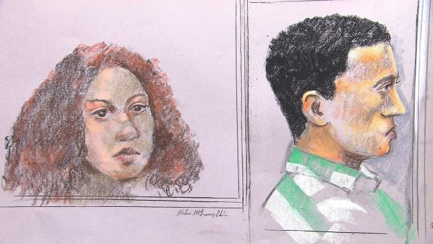 Sabrine Djermane and El Mahdi Jamali, shown here in a courtroom sketch, are on trial on terrorism-related offences.