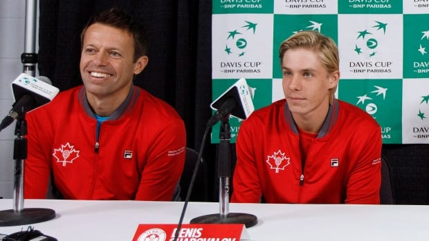 Daniel Nestor and Denis Shapovalov share the podium during a news conference Tuesday prior to this weekend's Davis Cup tie in Edmonton.