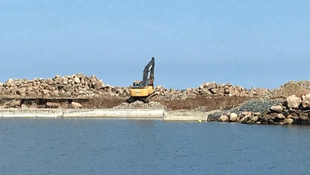 The U-wharf at the naval centre in Bas-Caraquet is under construction.