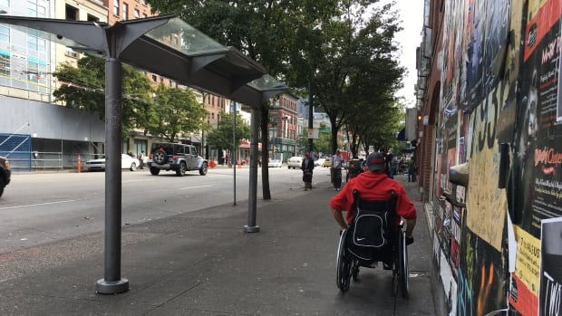 TransLink has stopped bus service to this bus stop at Carrall and Hastings on Vancouver's Downtown Eastside.